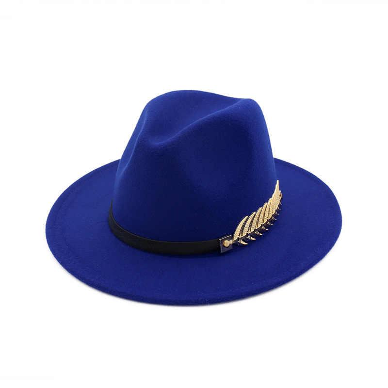 Sombrero de fieltro de lana Panamá, sombreros de fieltro de Jazz con ala plana de hoja de Metal, sombrero Formal para fiesta y escenario para mujeres y hombres unisex