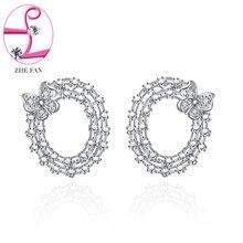Zhe Fan Exquisite Women Stud Earrings Micro CZ Cute Butterfly Studs Rhodium Plating Jewelry Gift
