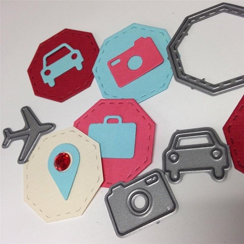 Naifumodo 7pcs Travel Elements Metal Cutting Dies Scrapbooking Plane Baggage for DIY Album Paper Craft Die Cut Stencil New 2019 in Cutting Dies from Home Garden