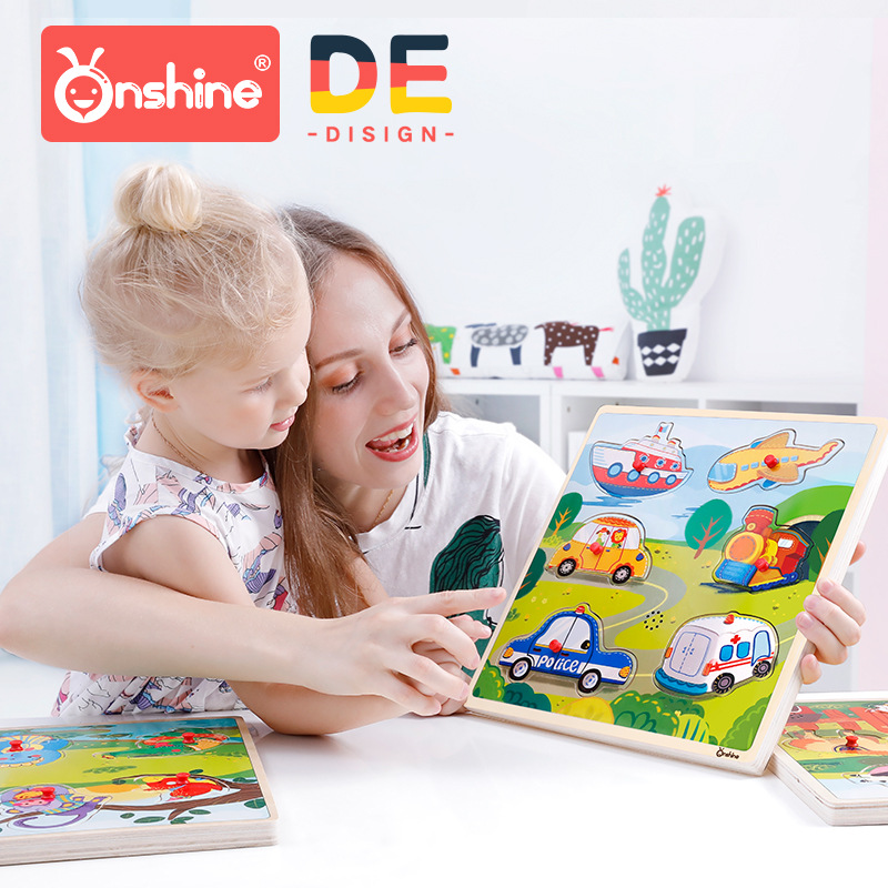 Onshine Children Sound Jigsaw Cognitive Animal Traffic Vehicles Hand Grasping Puzzle Sensation Sound Simulation Toys Baby Gifts