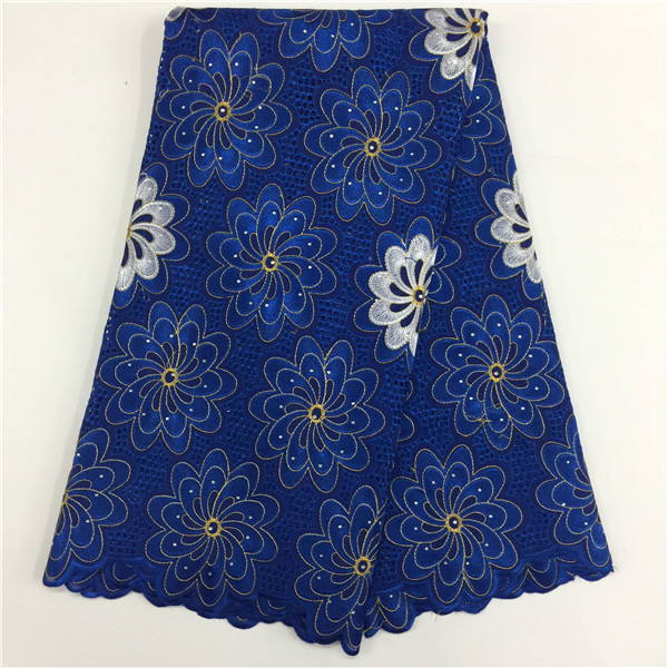 African Dry Lace Fabrics High Quality For Women Cotton Dry Lace Fabric Swiss Voile With Stone