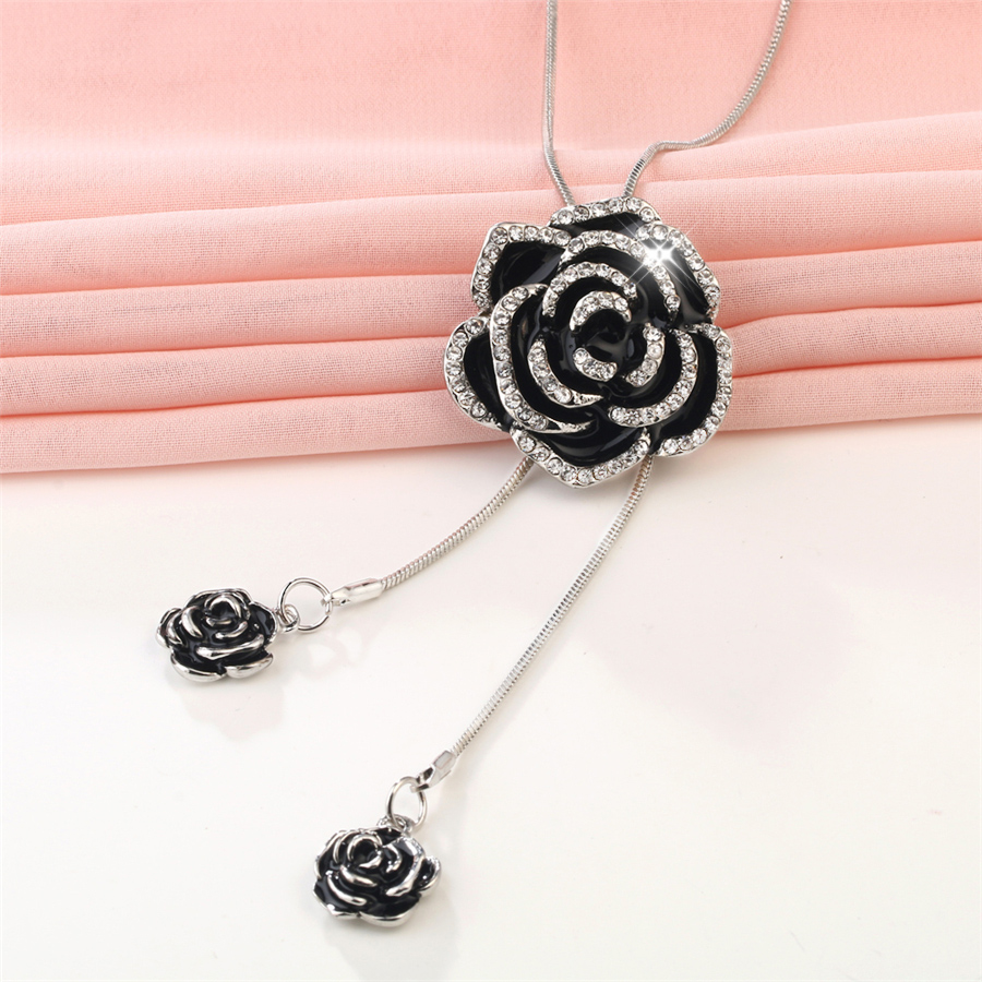 RAVIMOUR Black Rose Flower Long Necklace Women Fashion Statement Necklaces & Pendants Silver Color Chain Choker Jewelry 2017 New