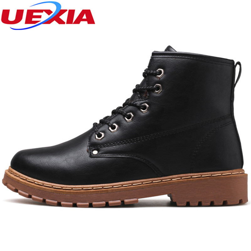 UEXIA Men Boots Leather Casual Shoes Winter Super Warm Tactical Work Snow Boots Chelsea Fashion Ankle botas Zapatillas Hombre iahead men boots men chelsea boots winter lace up flats casual shoes men leather ankle boots chaussure homme de marque mh598