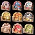 Ventas calientes 9 Modelos Animial Platos Bebé Chico/Chica Aprendizaje Placa Plato + Bowl + Glass + Tenedor + cuchara De Bambú Vajilla Conjuntos Estándar de Seguridad