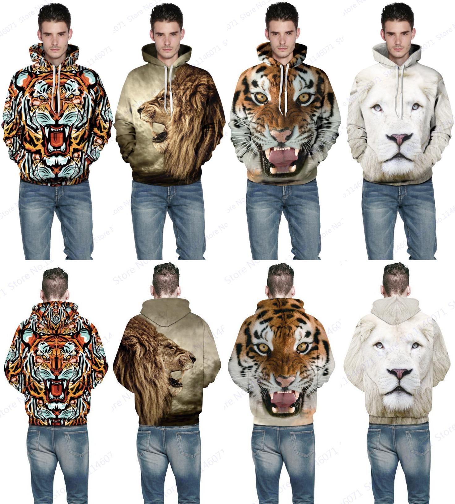 Prix pour Sauvage Bête 3D Impression Tigre Pull À Capuche Unisexe Brun Léopard Pull Sweat Blanc Lion Hoodies Planche À Roulettes Amateurs Manteau