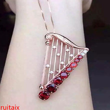 KJJEAXCMY boutique jewels 925 pure silver inlaid with gold jewelry, natural pomegranate stone pendant jewelry necklace.