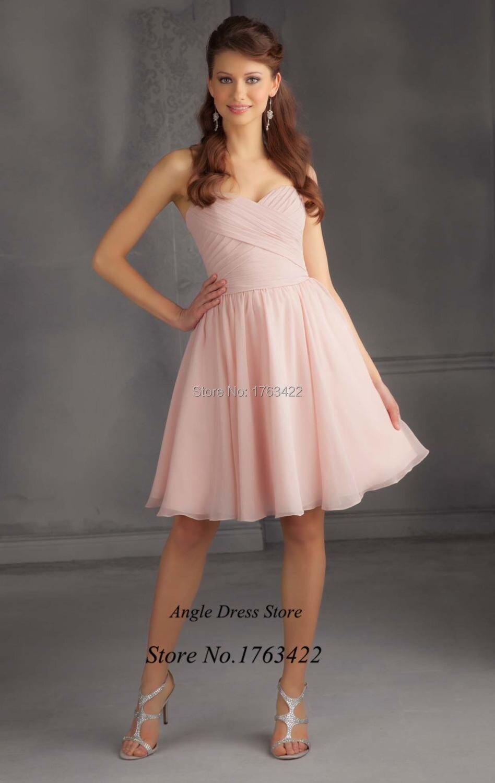 Nuevos Sencillos Corto De Color Rosa Vestido De Dama De Gasa