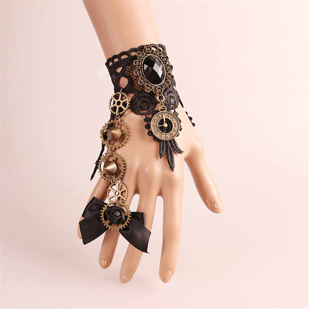 Для женщин и девочек Готическая Лолита Ретро стимпанк браслет с шестерней браслет кружевной браслет повязки маскарадные костюмы вечерние ручной работы