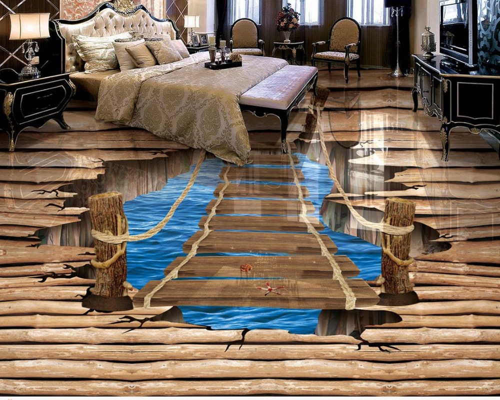 Buy waterproof floor mural painting lake for 3d murals for sale