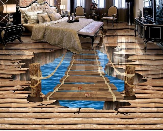 Waterproof Floor Mural Painting Lake Ladder 3d Wallpaper