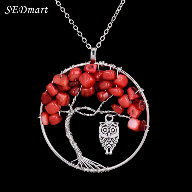Sedmart vintage owl tree of life red coral pendant necklace boho sedmart vintage owl tree of life red coral pendant necklace boho style handmade silver color wisdom aloadofball Images