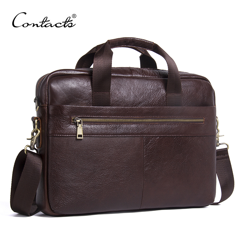 CONTACT'S Genuine Leather Bag Business Male bags Laptop Tote Briefcases Men Crossbody bags Shoulder Handbag Men's Messenger Bag купить в Москве 2019