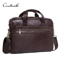CONTACT'S Genuine Leather Bag Business Male bags Laptop Tote Briefcases Men Crossbody bags Shoulder Handbag Men's Messenger Bag