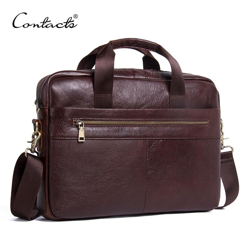 CONTACT'S حقيبة جلدية أصلية الأعمال الذكور أكياس كمبيوتر محمول حمل حقائب الرجال Crossbody أكياس حقيبة يد الرجال حقيبة ساعي-في حقائب قصيرة من حقائب وأمتعة على  مجموعة 1