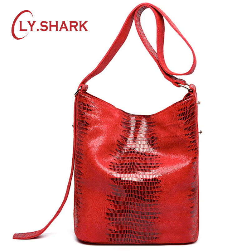 LY.SHARK Women Genuine Leather Bag Women Handbags Brand Serpentine Pattern Leather 2018 Female Shoulder Women Messenger Bag Tote new brand genuine leather women bag fashion retro stitching serpentine quality women shoulder messenger cowhide tassel small bag