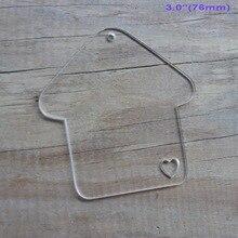 (4pcs/lot) 76mm Clear Blank Acrylic Key Chains House Acrylic Keychains Ornaments 3