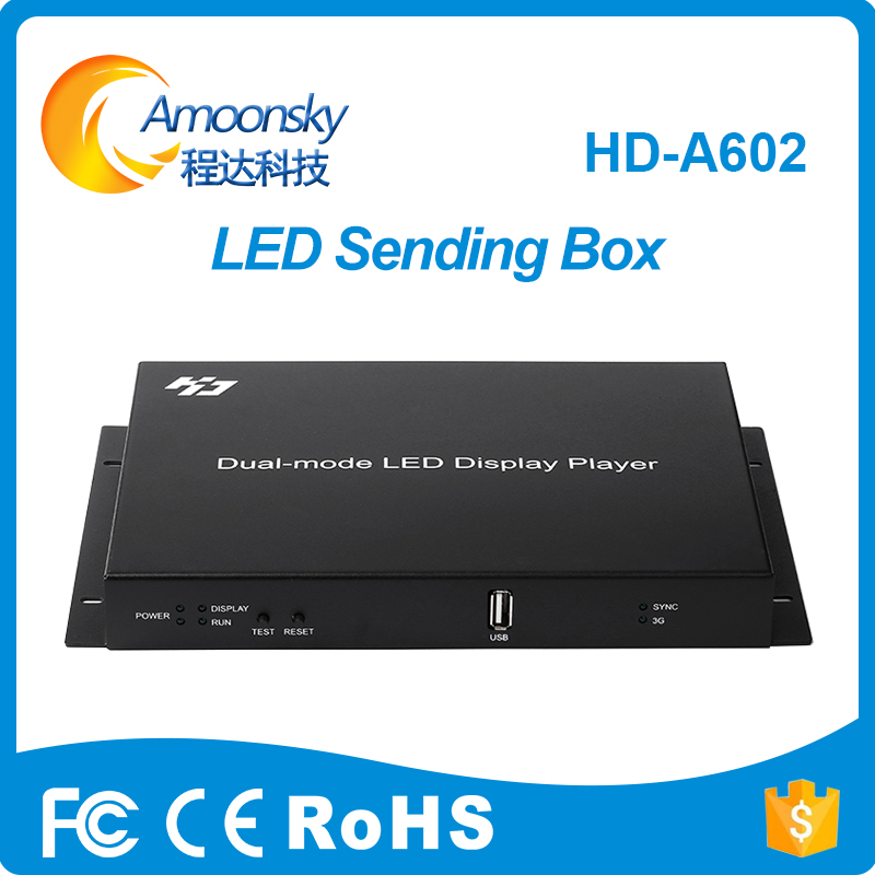 HD-A602 USB Port Full Color Async & Sync Dual-mode LED Controller LED Display Player Box Sypport 1280*720 Pixel HD-A60X Series