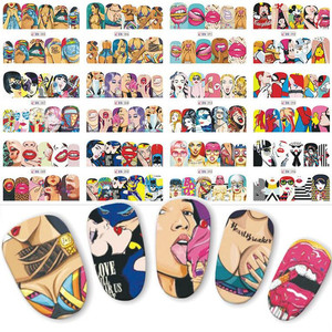 1pc 2018 New Fashion Pop Art Nail Sticker Water Transfer Nails Art Decals Beauty Decor Slider Cool Girl Lips Manicure