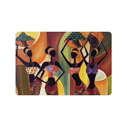 CHARMHOME Oil Painting Art African Woman Machine Washable Doormat Mat Funny Rugs  Bathroom Carpet