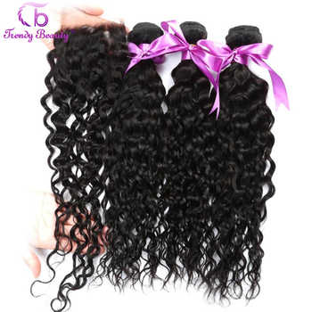 Trendy Beauty Brazilian Water Wave 3 bundles With 4*4 Lace Closure 4 Pcs/lot Human Hair Bundles With Closure Non-remy Free Ship - DISCOUNT ITEM  55 OFF Hair Extensions & Wigs