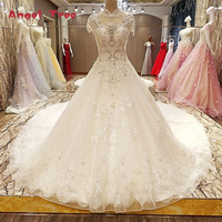 2018 White High End Luxury Lace Wedding Dresses High Neck Sequined Ball Gown Princess Bridal Gown