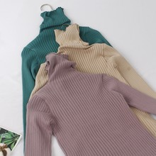 GIGOGOU Basic Ribbed Turtleneck Women Sweater High Neck Knitted Sweater Pullovers With Thumb Hole Fall Autumn Winter Jumper Top(China)