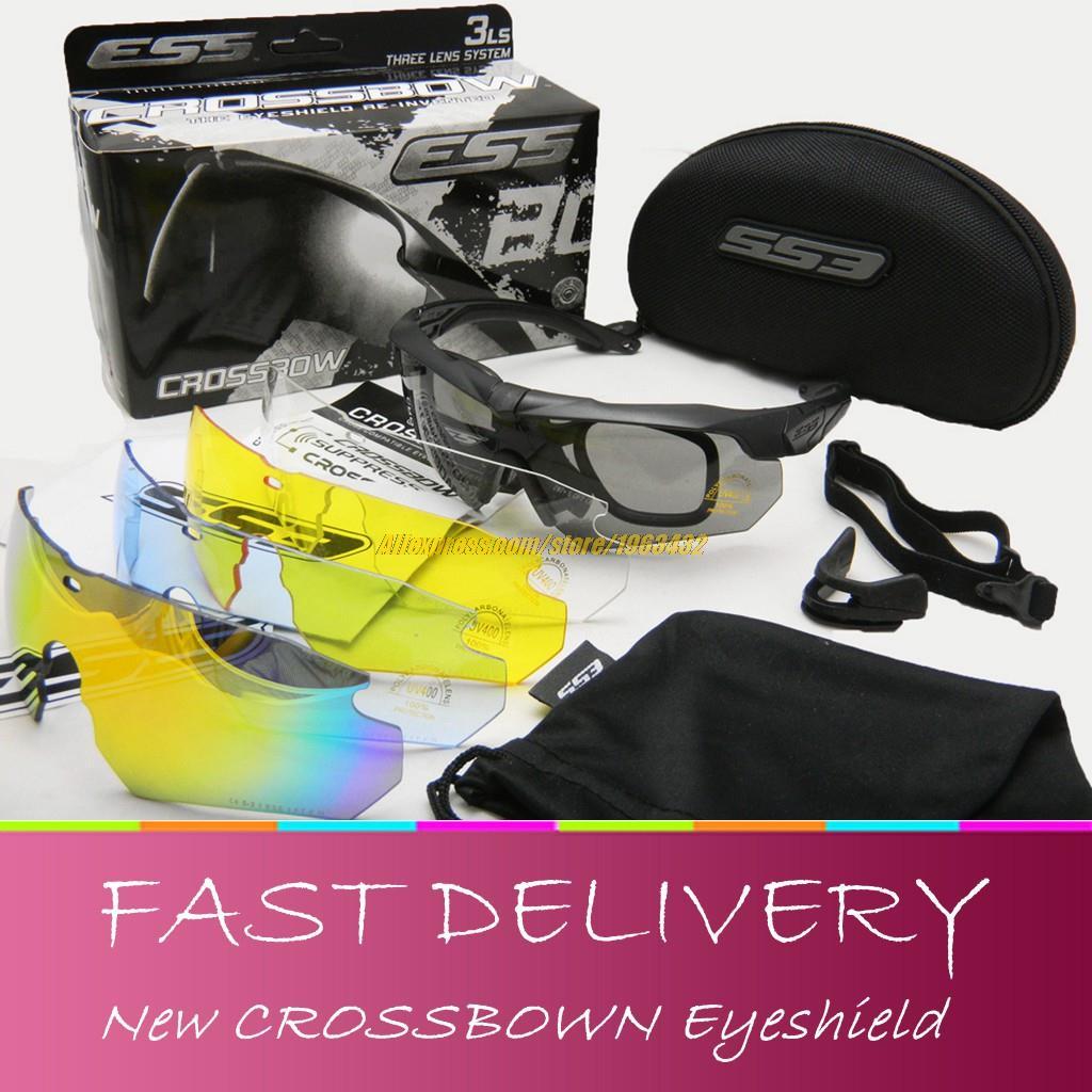 Prix pour Tactique Arbalète lunettes de soleil Lunettes Militaire 3/5LS Rouge Feu Iridium lentille Eyeshield en plein air Airsoft tir de protection lunettes