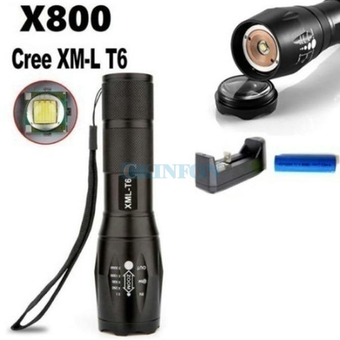 DHL 50PCS Portable 5000Lumens Ultra Bright - XML T6 LED Tactical Flashlight 5 Modes+18650 Battery+Charger