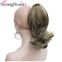Starke Schönheit 12 Zoll Synthetische Kurze Lockige Pferdeschwanz Clip In Haarverlängerungen Mit Klaue Clip