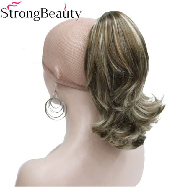 Aliexpress buy strong beauty 12 inches synthetic short curly strong beauty 12 inches synthetic short curly ponytail clip in hair extensions with claw clip pmusecretfo Choice Image