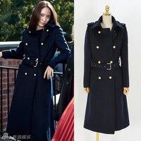 women winter autumn double breasted wool blends coat dark blue long sleeve jacket women woolen coat