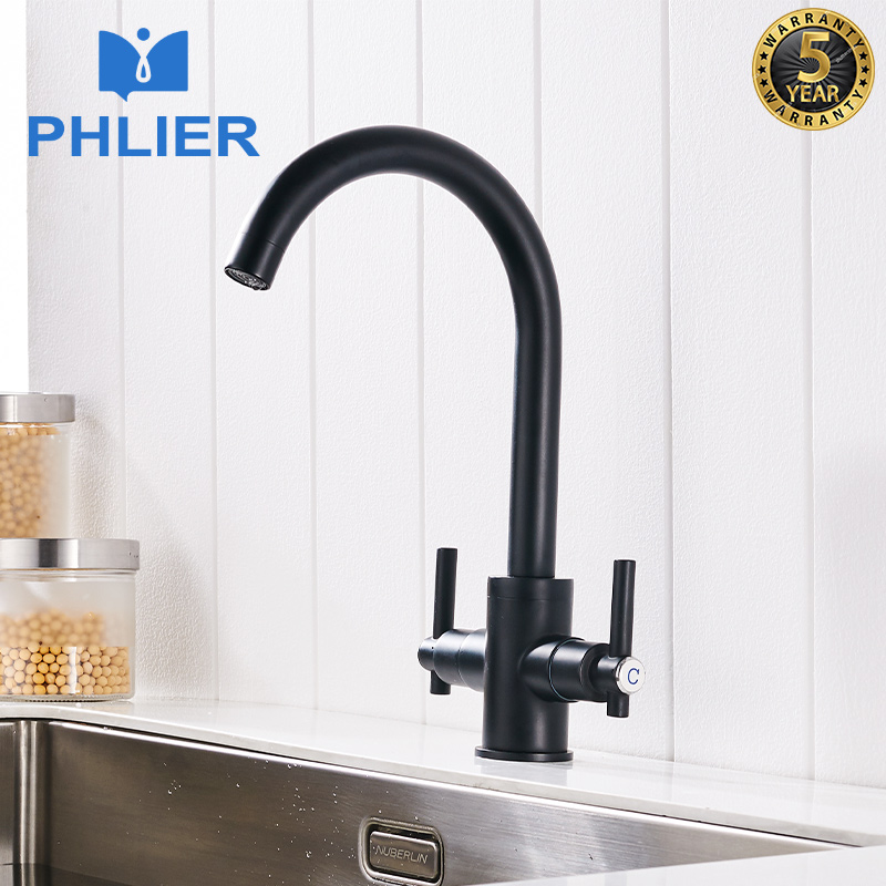 PHLIER Contemporary Black Matte Kitchen Faucet Deck Mounted Dual Handle 360 Water Mixer Tap Cold Hot Kitchen Mixer for Sink Taps
