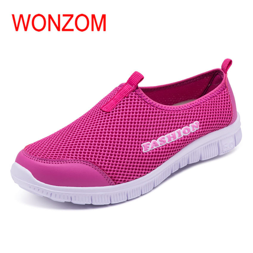 WONZOM 2018 New Arrival Women Breathable Slip-on Flats Casual Shoes Fashion Air Mesh Summer Quick-Drying Female Shoes Size 34-40 2017 free shipping new arrival traditional tavas women colors casual shoes breathable max size 36 42 black white superstar