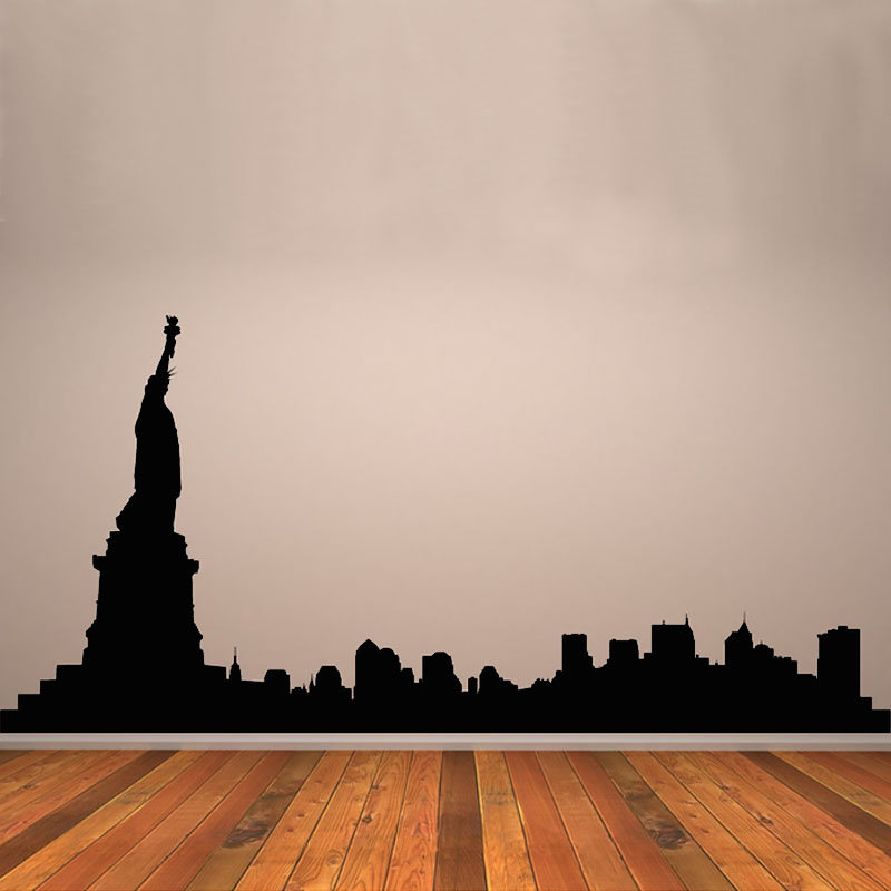 DCTOP Statue Of Liberty Wall Stickers New York City Silhouette Self  Adhesive Living Room Wall Art Decor Sticker Vinyl Decals