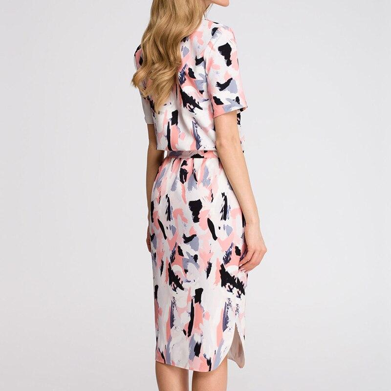 Midi Party Dresses Geometric Print Loose Batwing Sleeve Dress 63