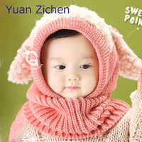 Winter Baby Hots Star Printed Winter Warm Crochet Knit Hat And Scarf Carttoon Dog Cap Kids