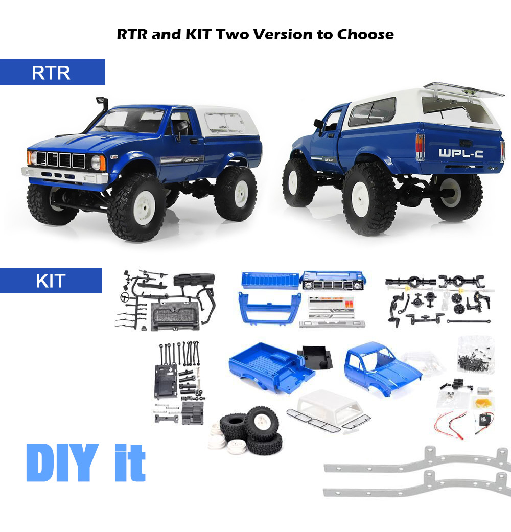 <font><b>WPL</b></font> <font><b>C24</b></font> RC Car 1:16 4WD Radio Control Off-Road Mini Car RTR Rock Crawler Electric Buggy Moving Machine RC Cars Kids Play Car image