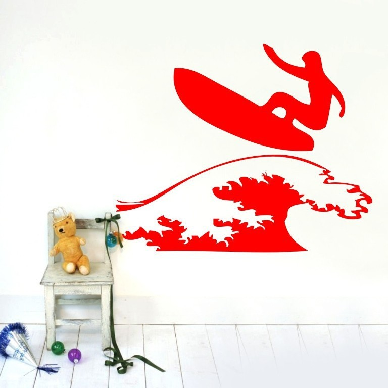 Us 17 76 25 Off Free Shipping Decor Sticker Surfer Surfboard Wall Sticker Vinyl Decals Home Kids Nursery Room Wall Art Mural Home Decoration In Wall