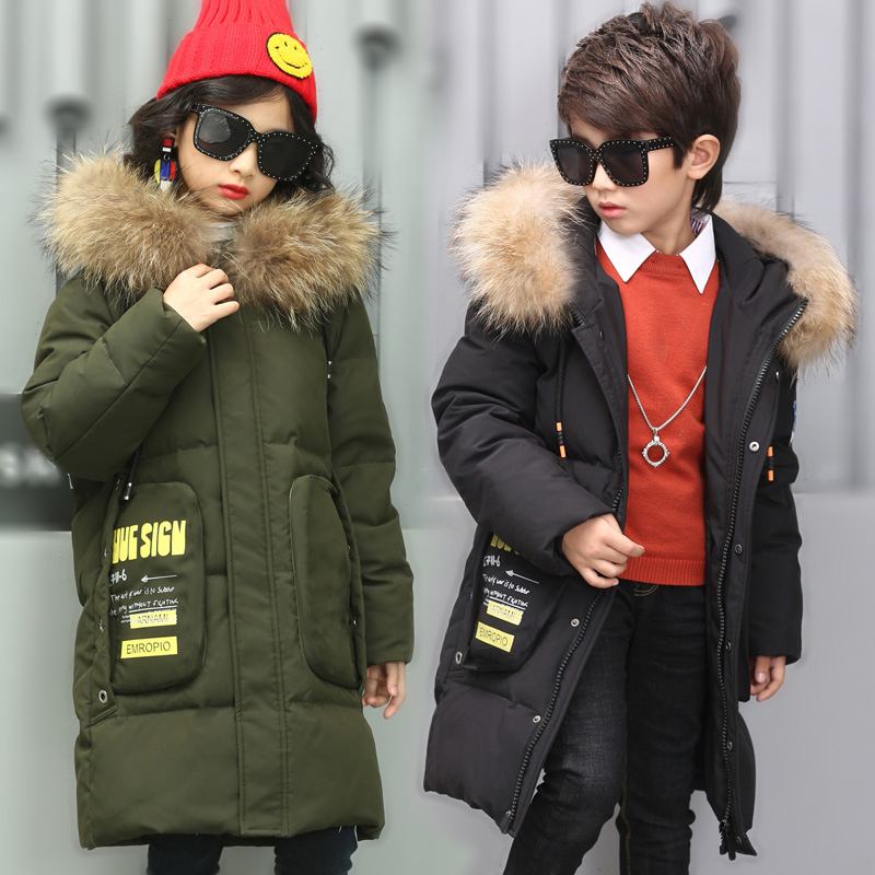 HSSCZL 2018 Children 's Duck Down Jacket Boys Girls Long Coat Fur Collar Large Winter Coat Hooded Unisex Thicken Kids Overcoat кофемашина nespresso delonghi en 560 b nespresso lattissima touch animation