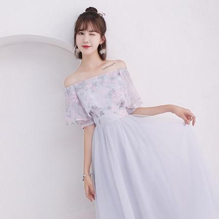 2018new stock plus size women pregnant wedding party Bridesmaid Dresses long sexy romantic A line grey dresses abe180