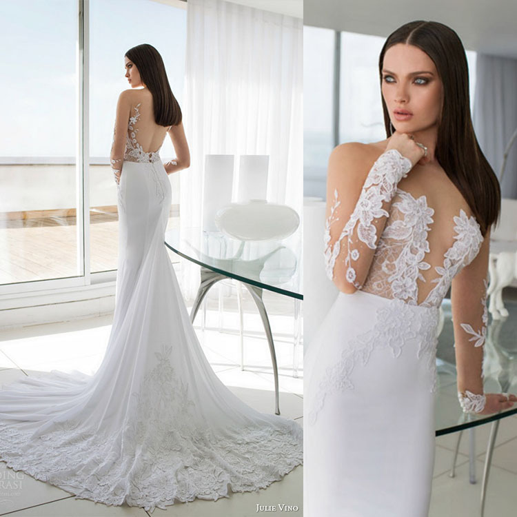 2017 New Arrival Long Sleeves Ed Wedding Dresses Summer Backless Lace Mermaid Gown In