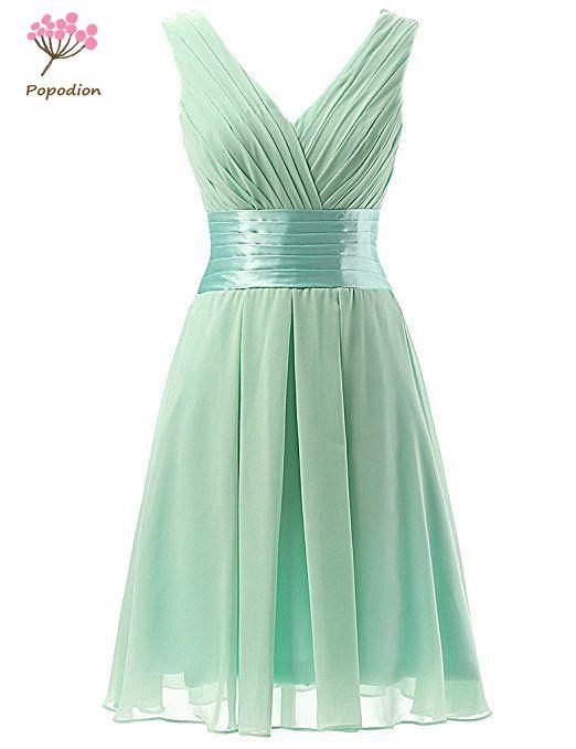 Popodion Bridesmaid Dresses Plus Size Chiffon Purple Dress For Wedding Party Short Bridesmaid Dress  ROM80129