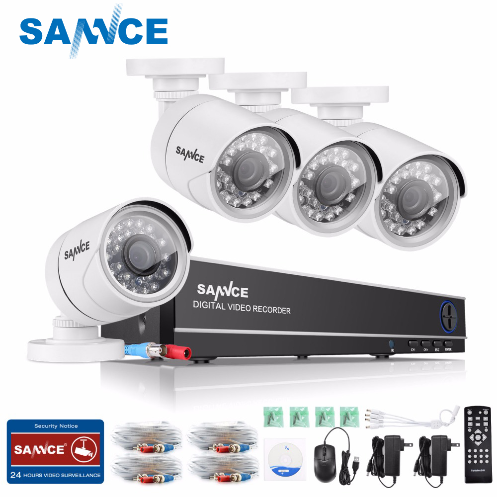 SANNCE 8CH 720P HD CCTV System 1080P HDMI Video Recorder DVR Kit 720P 1500TVL CCTV Security Cameras IR outdoor Surveillance Kit цена