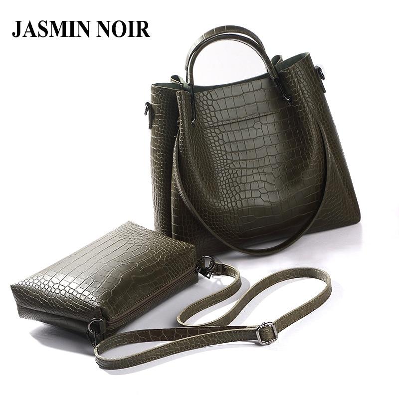 New Women Alligator Leather Big Totes Handbag Lady Crocodile PU Leather Messenger Bag Female Dual Functions