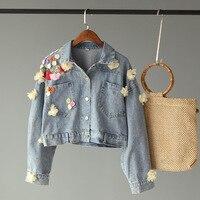 Denim Jacket Limited Casaco Feminino New Sale Full Bomber Women Free Shipping 2019 Autumn Korean Trend Flower Decoration Coat