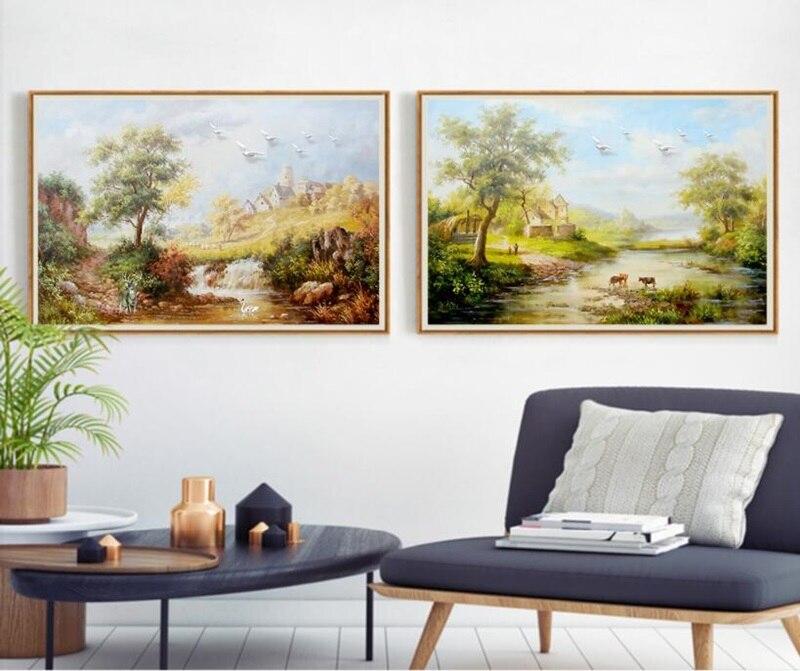 Almudent European Retro Village Idyllic Landscape Painting 2 Panels Sofa Background Decoration Painted Unframed Canvas Wall Art Home & Garden Home Decor