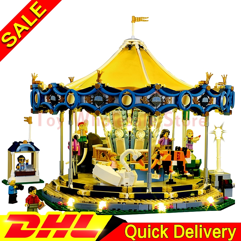 IN STOCK LEPIN 15036 2705PCS 15036B with light City Street Carousel Model Building Kits Blocks Toy Clone 10257 петля двери 2705 зад н о прав ниж