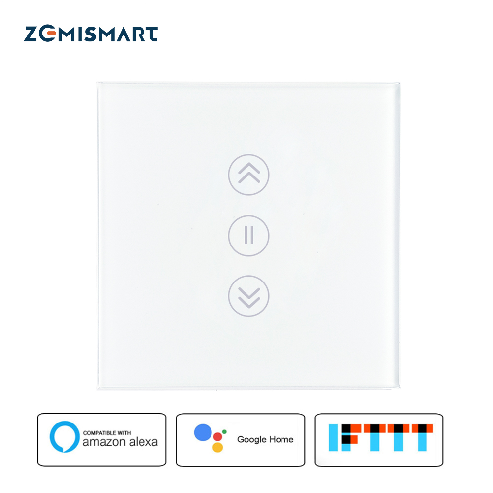 La UE cortina interruptor Wifi interruptores inteligentes Alexa Google Control de voz Aplicación de teléfono de Control con retroiluminada azul en Panel de vidrio