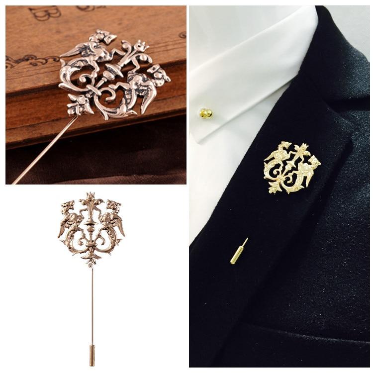 Double Dragon Gold Silver Antique Gold Brooch Pins Men Suit ...