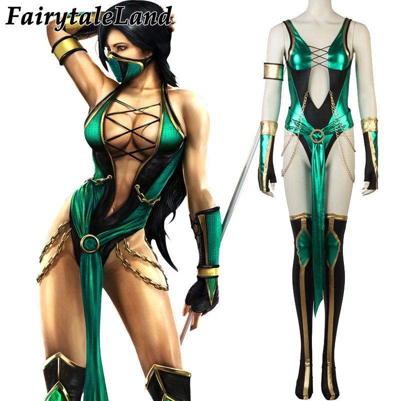 Mortal Kombat X Jade Cosplay Costume Halloween Costumes for Women Sexy Spandex Jumpsuit Cosplay Jade Costume Mask Custom made